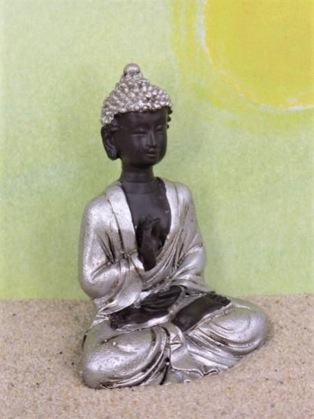 Buddha im Lotussitz - schwarz/silber