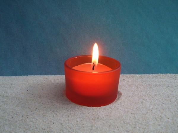 Orange Frostglas-Kerze