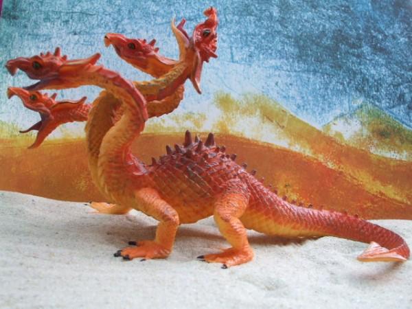 Feuerfarbene Hydra mit vier Köpfen - XL