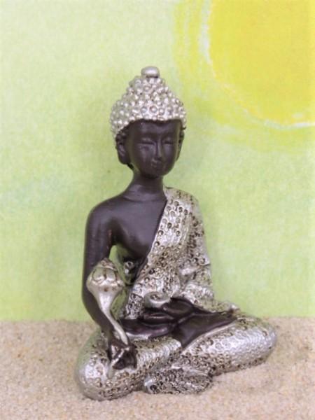 Buddha mit Blütenstab - schwarz/silber