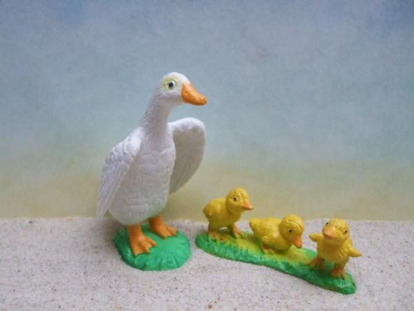 Weiße Ente mit Küken - stehend