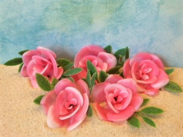 Rosenblüten - 5er Set - rosa Farbverlauf