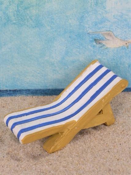 Liegestuhl - blau / weiß