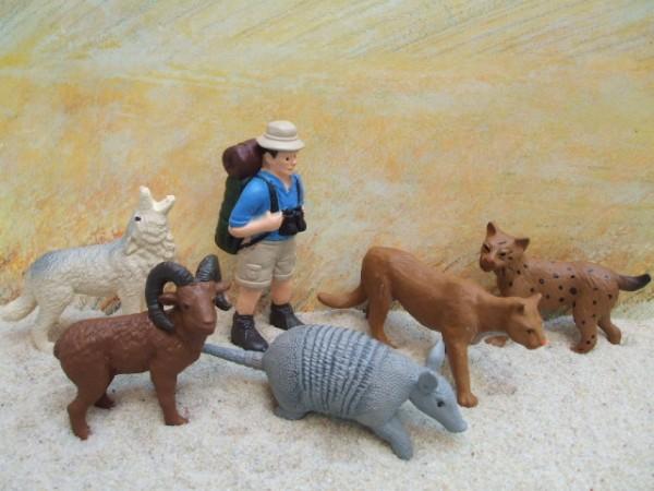 'Little Desert' - Wanderer mit Rucksack & Wildtieren