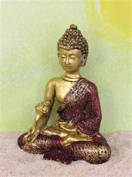 Buddha mit Blütenstab - rot/gold
