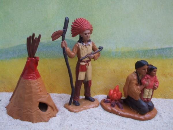 'Little Indians' - Häuptling, Squaw mit Kind & Tipi