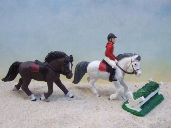 'Little Derby'- Reiter, 2 Pferde & Hindernis - 2
