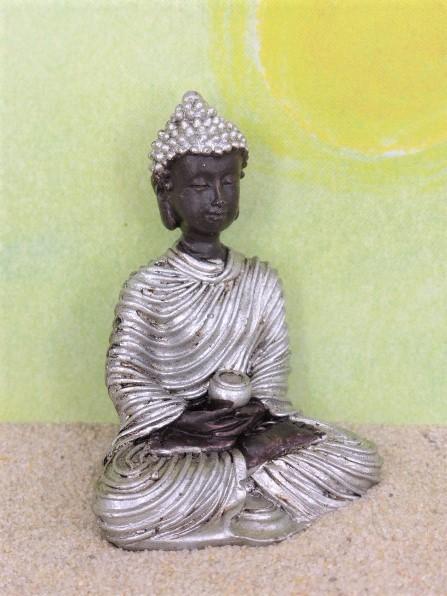 Buddha mit Gefäß - schwarz/silber