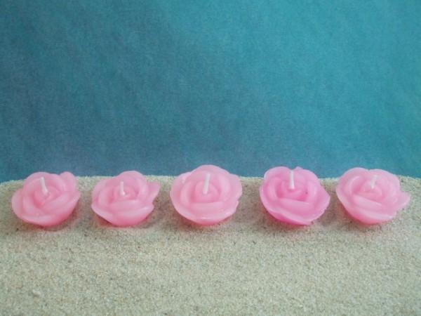 5er-Set Schwimmkerzen: Rosenblüte - rosa