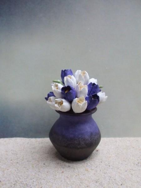 Blumenvase 'Weiße & Lila Tulpen'