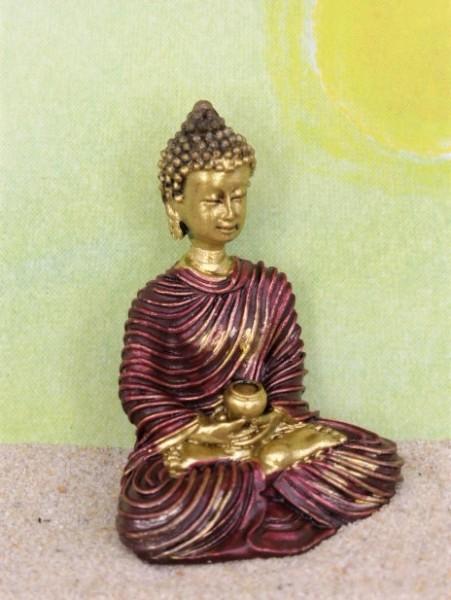 Buddha mit Gefäß - rot/gold