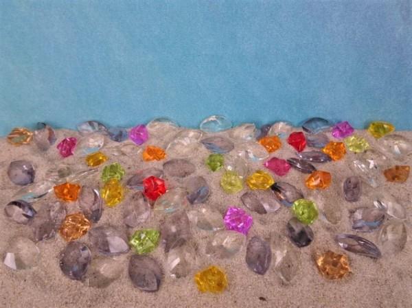 Facettierte Acrylglas-Steine & Nuggets - BUNT