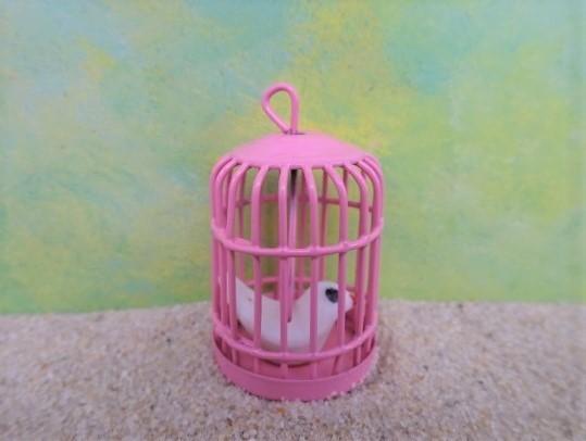 Vogelkäfig mit Vögelchen - MINI - rund & rosarot
