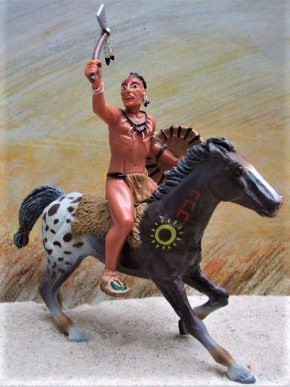 Irokese auf galoppierendem Appaloosa - braunweiß