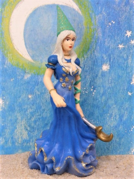 Fee mit Spitzhut & Zauberstab - blau gekleidet