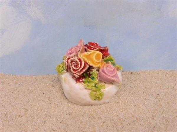 Blumenschale / Blumengesteck ... mit verschiedenfarbigen Rosen