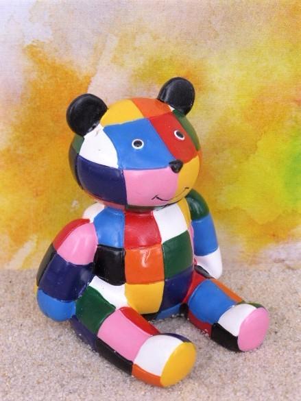 Bär / Teddybär - bunt kariert