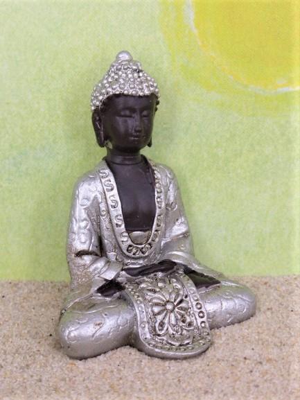 'Monsun' Buddha - schwarz/silber
