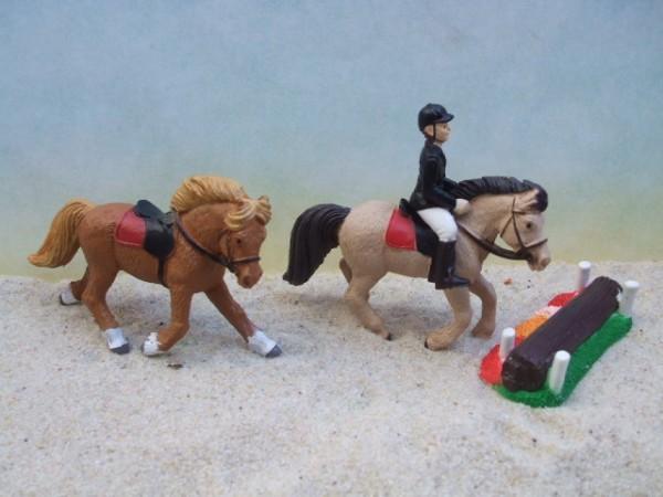 'Little Derby'- Reiter, 2 Pferde & Hindernis - 1