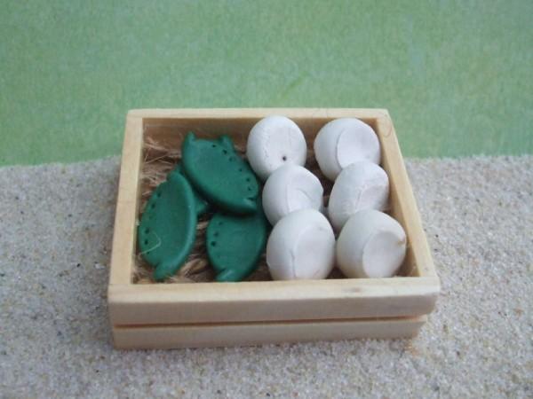 Holzsteige mit Zuckererbsen & Pilzen - geklebt